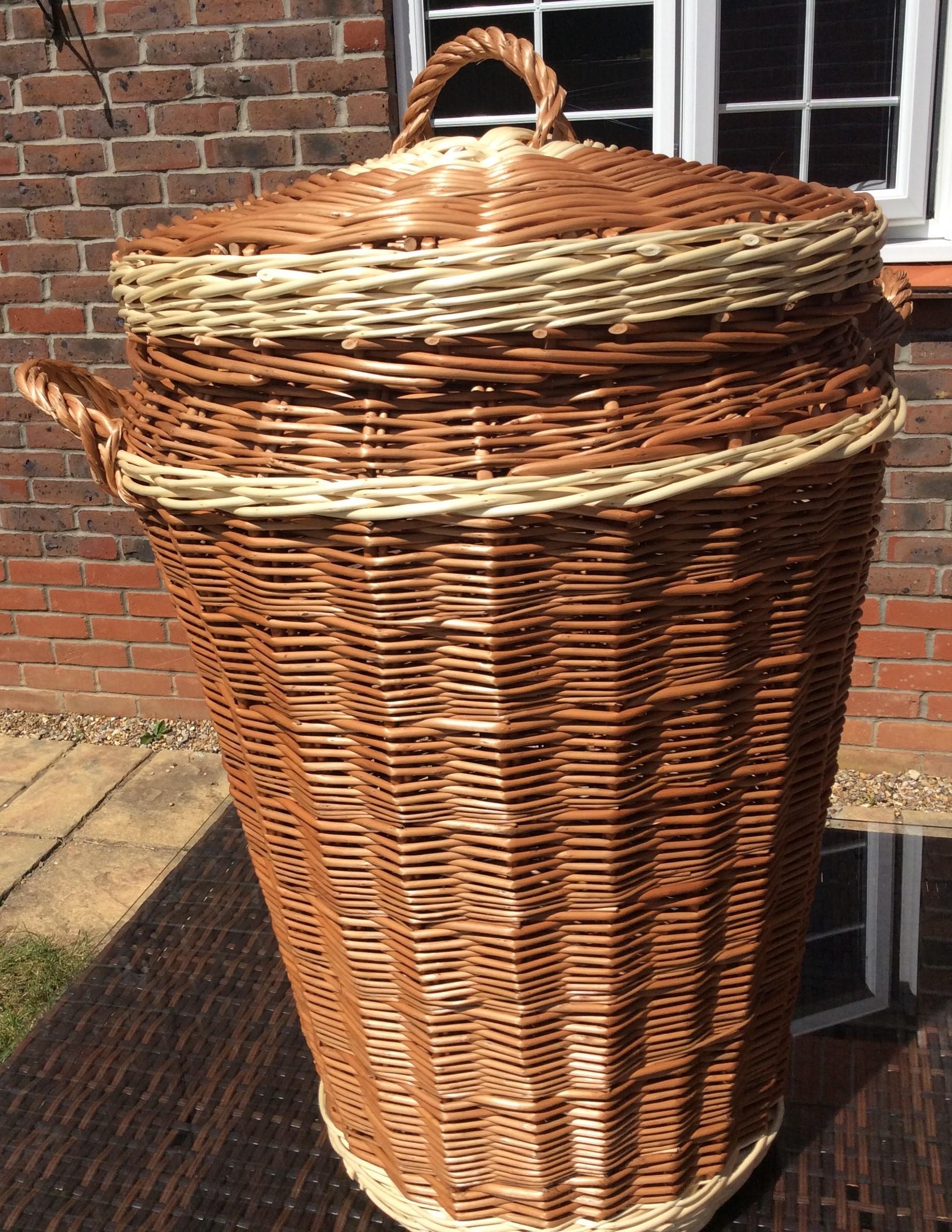 Large Traditional English Ali Baba Linen Basket